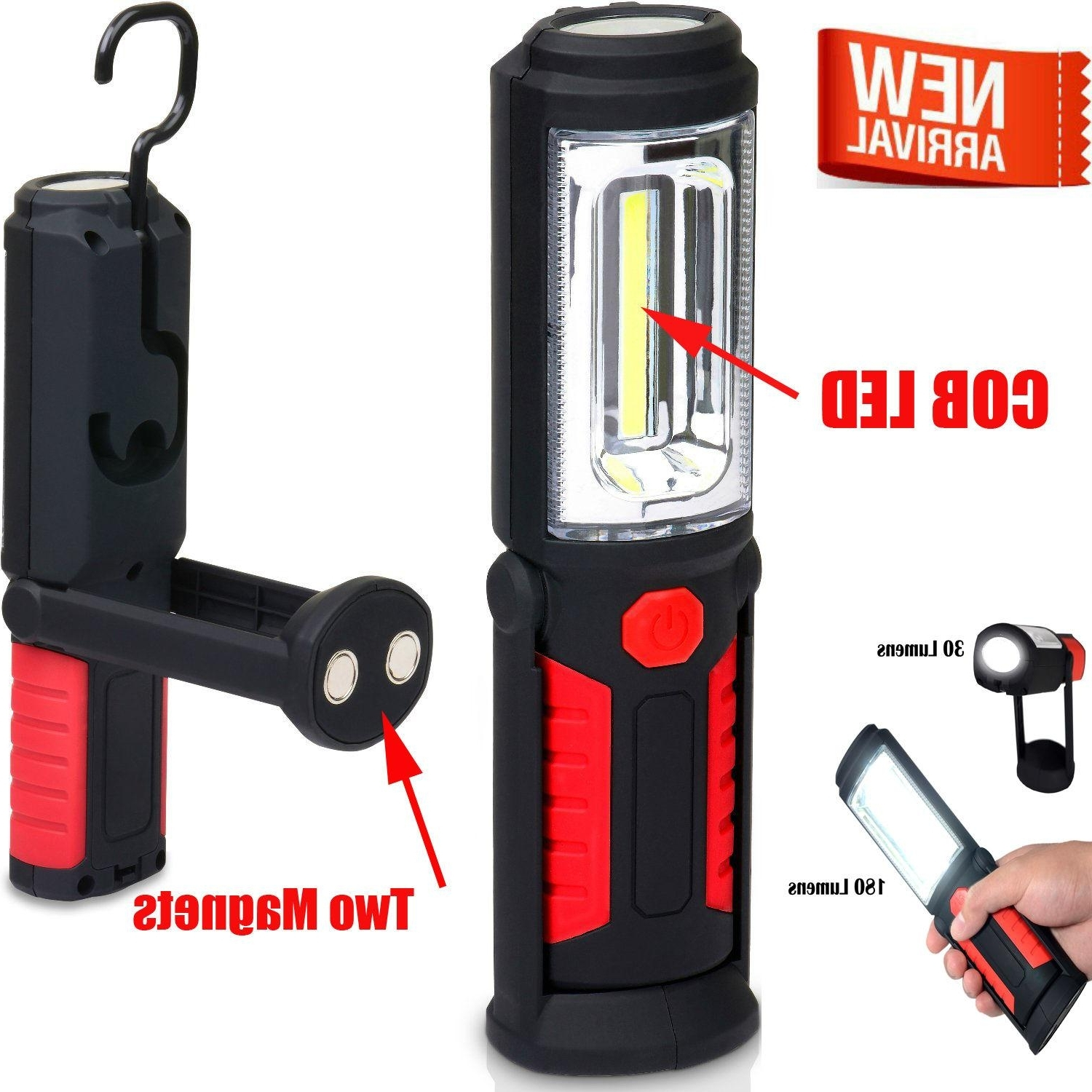 Led Magnetic Work Light Cob Stand Hook Inspection Hanging Flashlight Inside Recent Outdoor Hanging Work Lights (View 11 of 20)