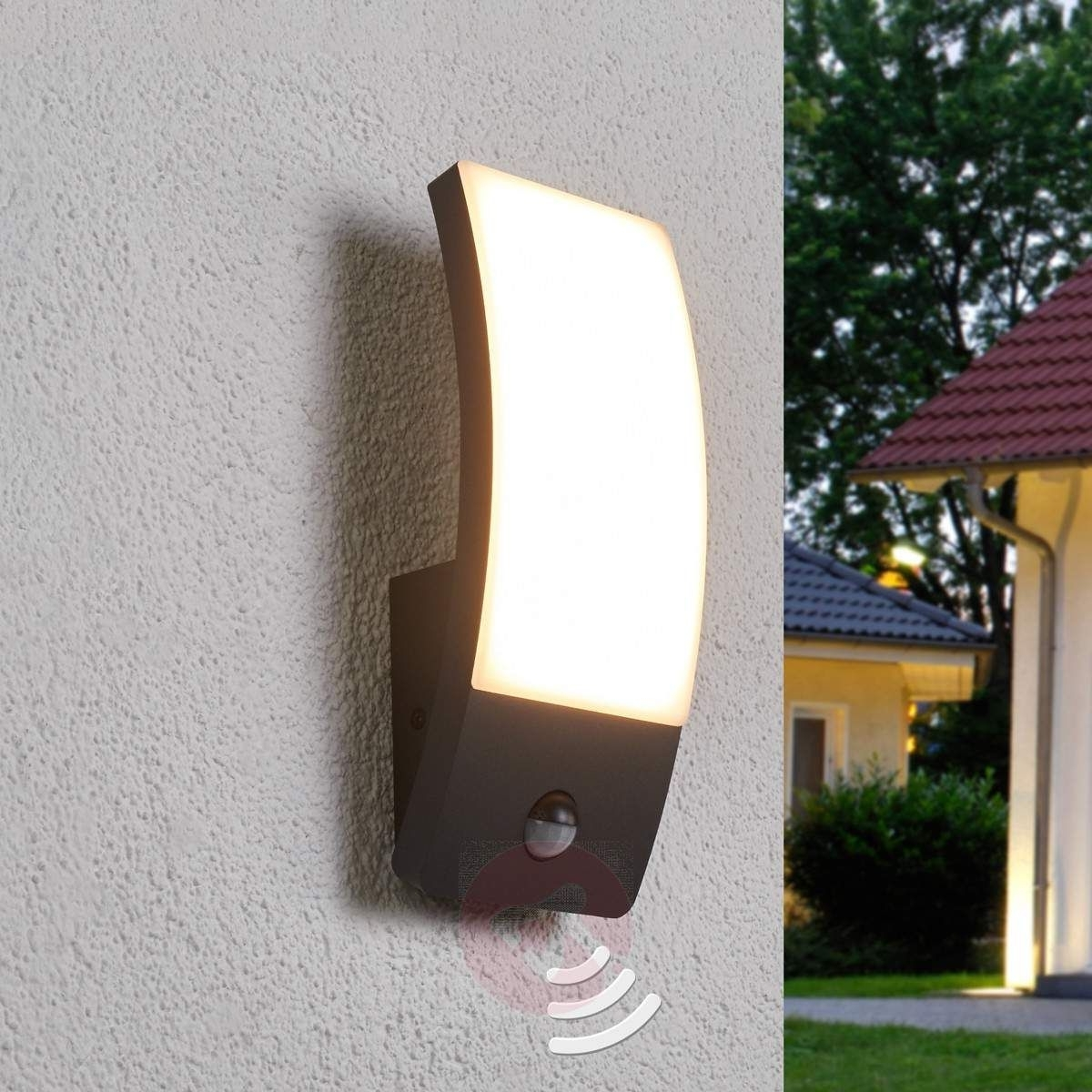 Led Outdoor Raccoon Wall Lights With Motion Detector Regarding Best And Newest Dark Grey Led Outdoor Wall Light Siara With Sensor 9619095  (View 10 of 20)