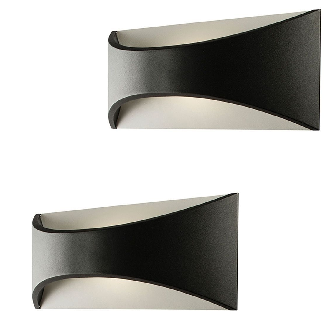 Led Outdoor Wall Lighting Pertaining To Most Current Pair Saxby 61865 Vulcan Matt Black Curved Aluminium 300Mm Led (View 8 of 20)