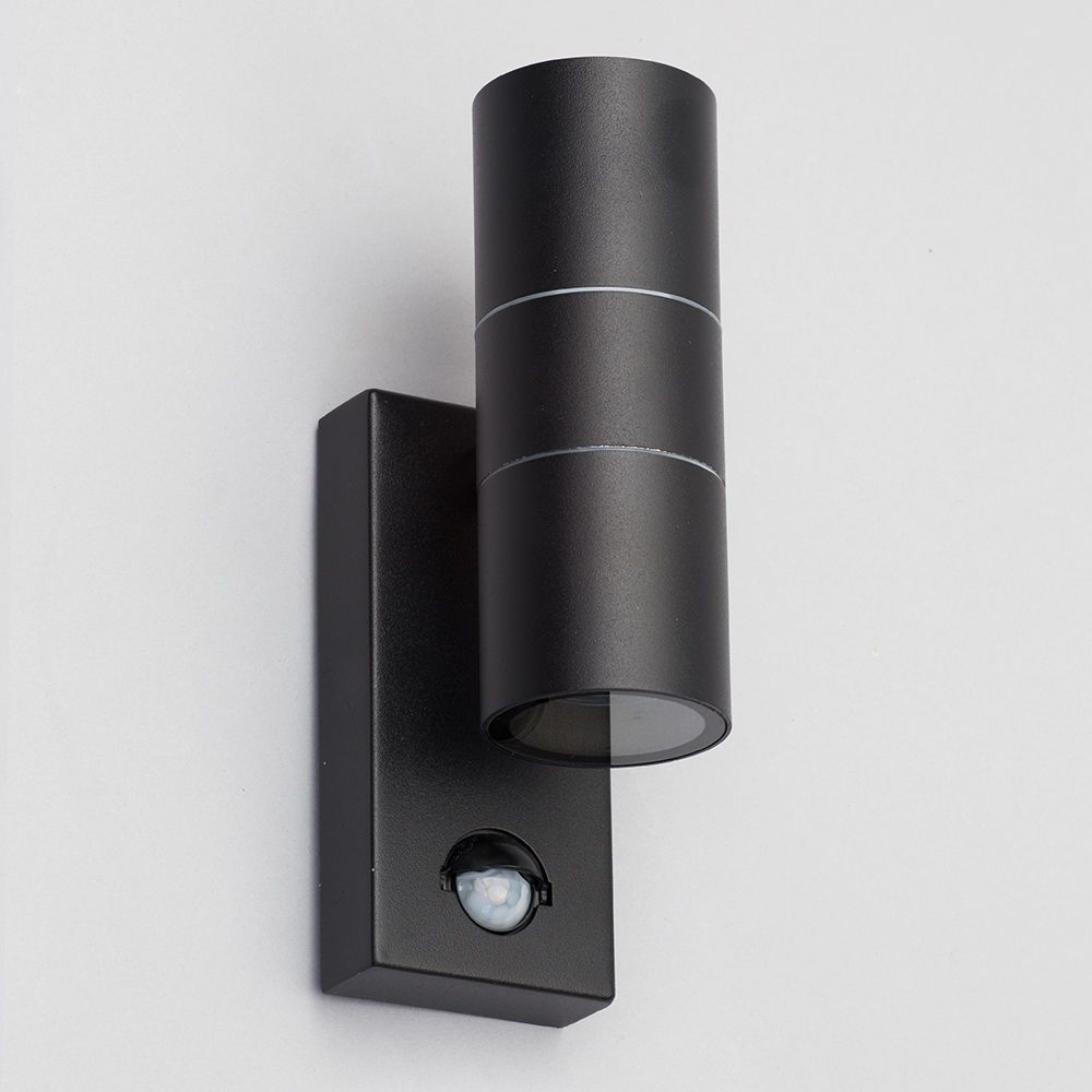 Leto 2 Light Outdoor Up And Down Wall Light With Pir Sensor – Black With Regard To Most Current Outdoor Wall Lights With Pir (View 7 of 20)