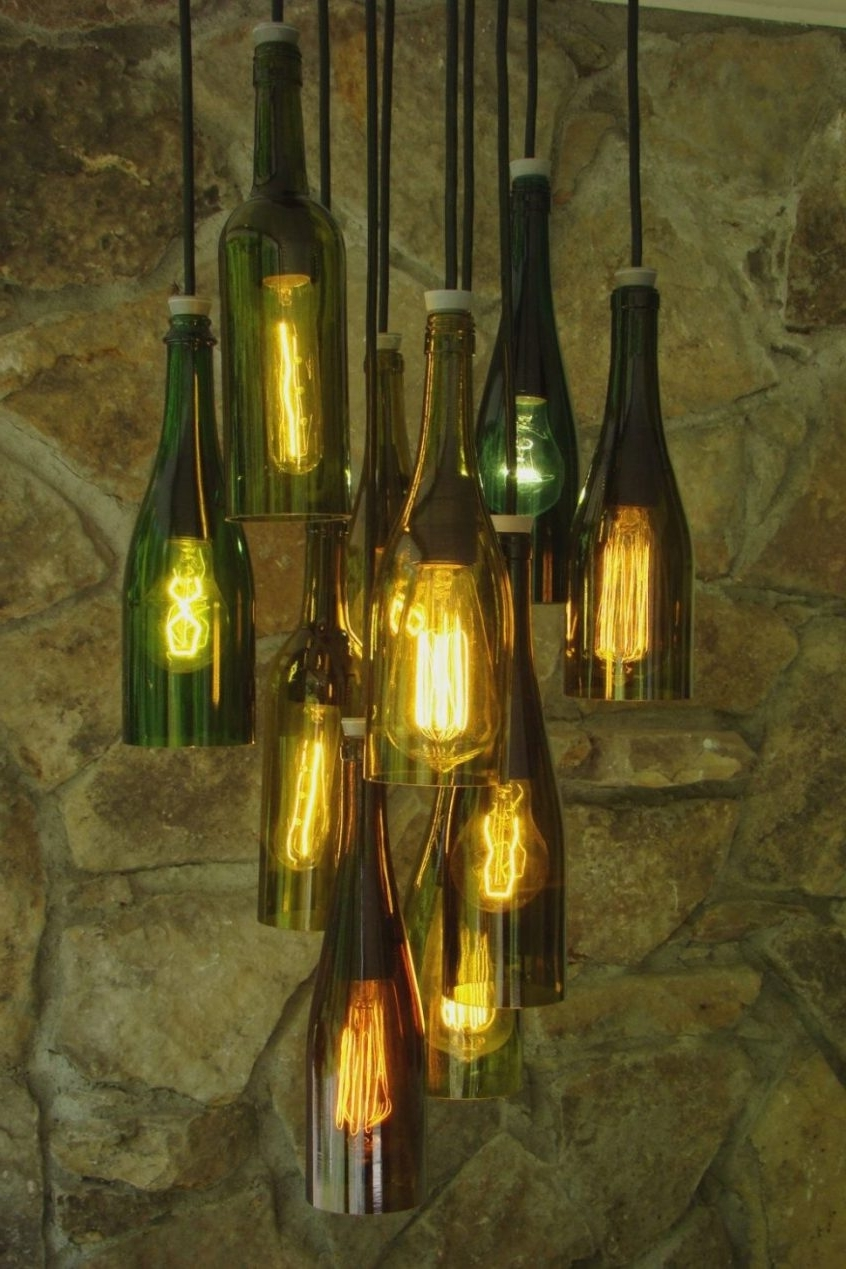 Lighting : Diy Wine Bottle Chandelier Diy Wine Bottle Chandelier Kit Regarding Newest Making Outdoor Hanging Lights From Wine Bottles (Gallery 20 of 20)