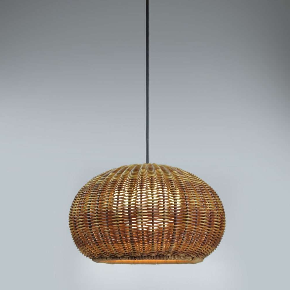 Lighting : Glamorous Wicker Pendant Lamp Light Lighting Lights Intended For Latest Outdoor Rattan Hanging Lights (View 9 of 20)