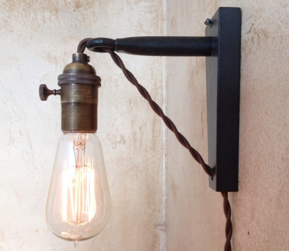 Lighting : Pendant Lights Hanging Lamp Plug Into Wall In Pretty Pertaining To Newest Outdoor Wall Lights With Plug (View 4 of 20)