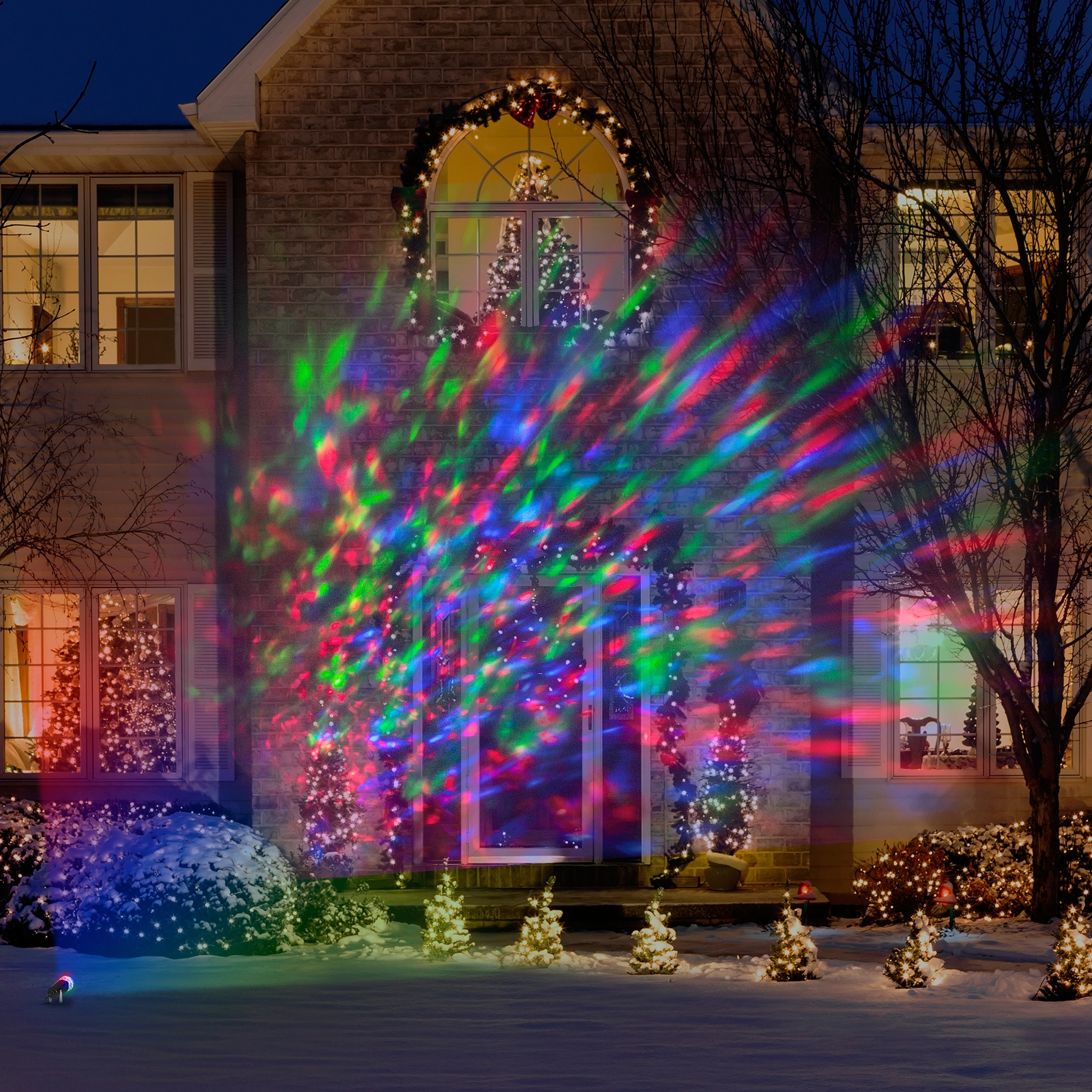 Lightshow Kaleidoscope Multi Colored Christmas Lights – Walmart In Most Up To Date Outdoor Wall Lighting At Walmart (Gallery 4 of 20)