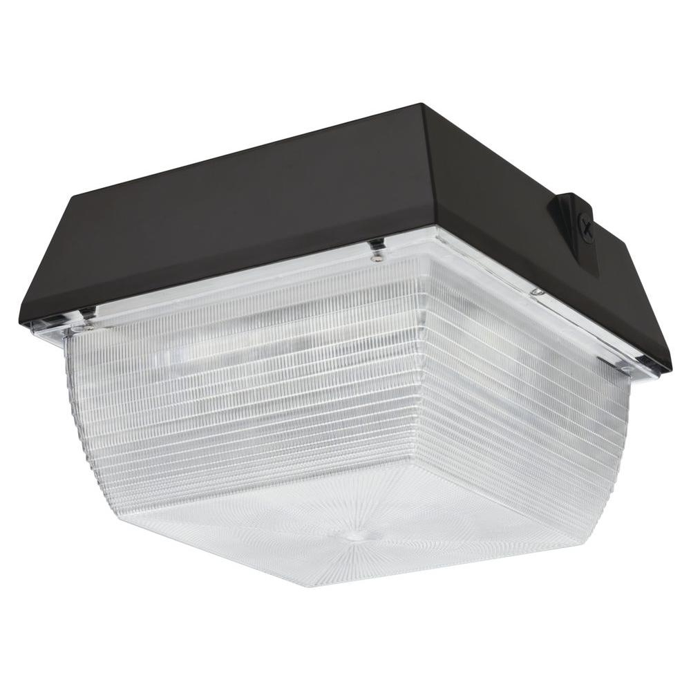 Lithonia Lighting Ceiling Mount Outdoor Dark Bronze Led Canopy Regarding Most Up To Date Commercial Outdoor Ceiling Lighting Fixtures (View 10 of 20)
