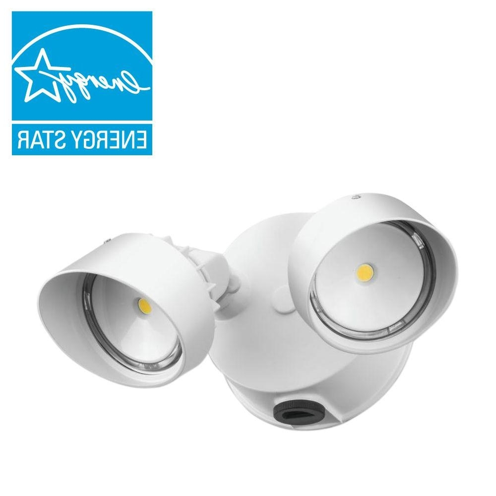 Lithonia Lighting White Outdoor Integrated Led Round Wall Mount Intended For Newest Lithonia Lighting Wall Mount Outdoor Bronze Led Floodlight With Photocell (View 11 of 20)