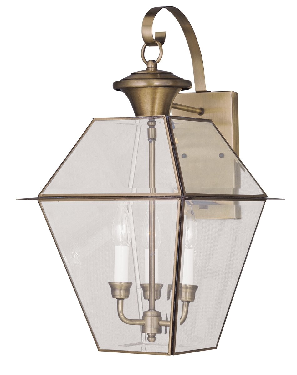 Livex Lighting (2381) Westover 3 Light Outdoor Wall Lantern Shown In Pertaining To Best And Newest Antique Brass Outdoor Lighting (View 18 of 20)