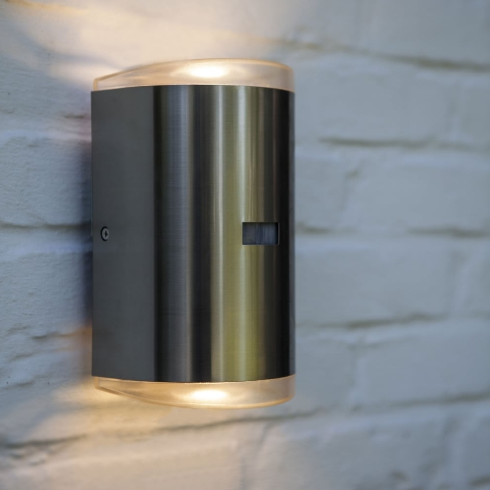 Lutec Path Pir 16w Exterior Led Up And Down Wall Light In Stainless Inside Newest Outdoor Led Wall Lights With Pir (View 11 of 20)