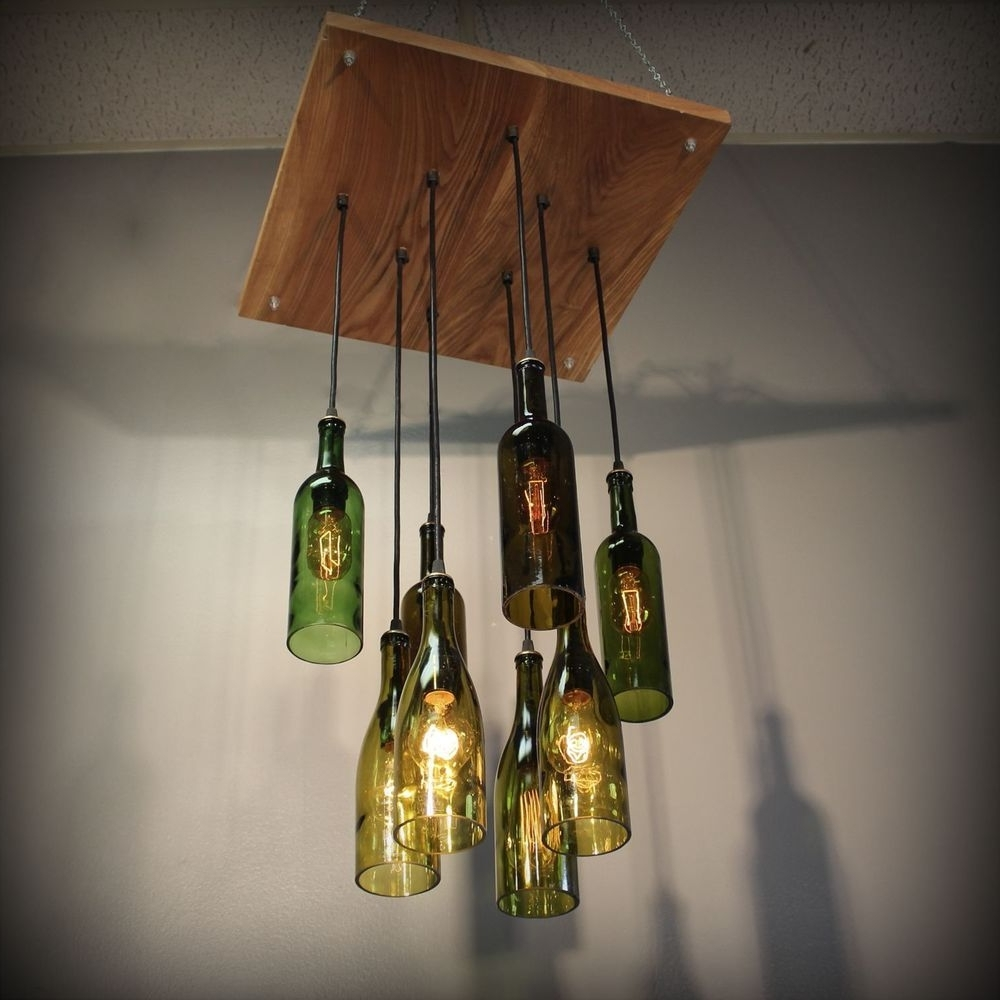 Making Outdoor Hanging Lights From Wine Bottles Throughout Recent Repurposed Wine Bottle Pendant Chandelier Wood Frame Hanging Lamp (View 16 of 20)