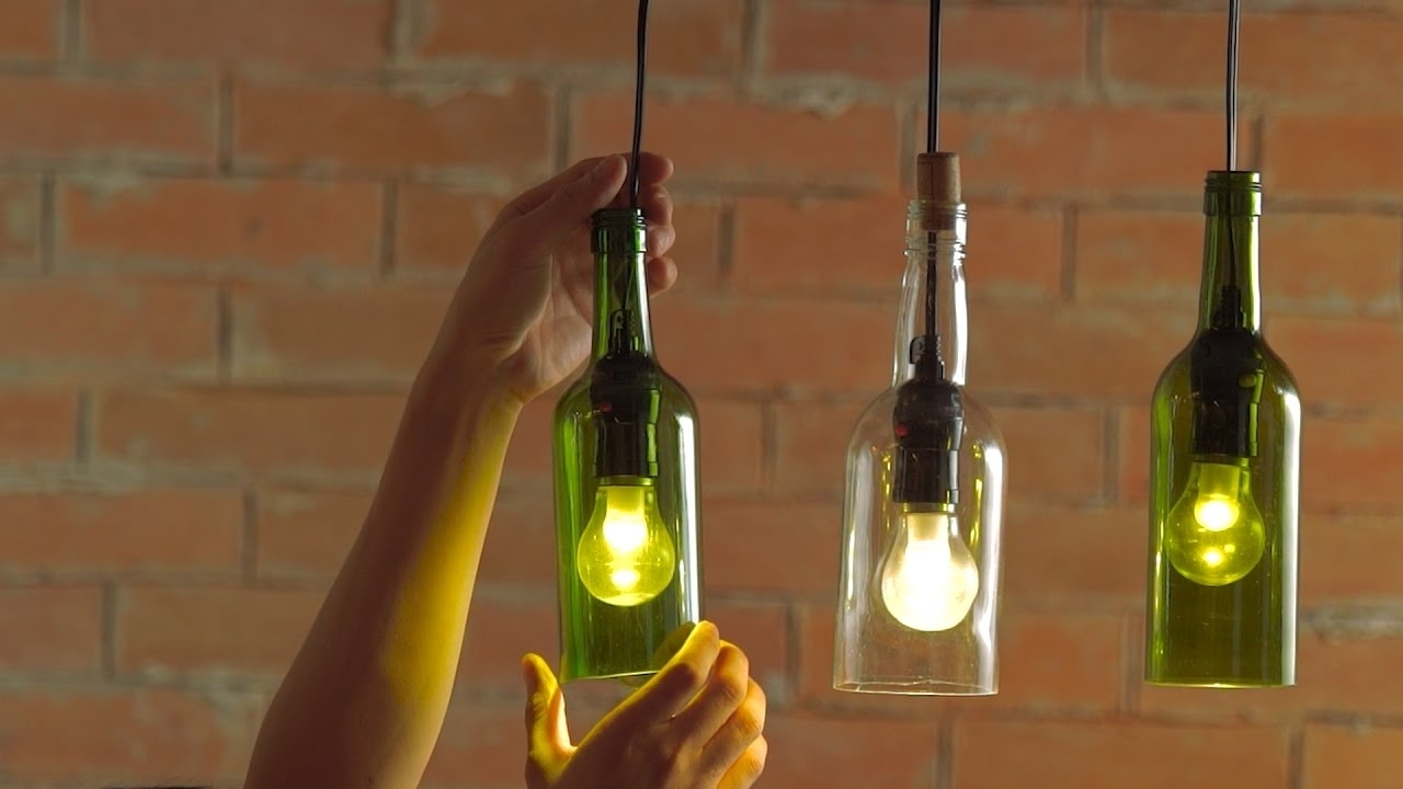 Making Outdoor Hanging Lights From Wine Bottles With Latest Diy Hanging Wine Bottle Pendants – Youtube (View 17 of 20)