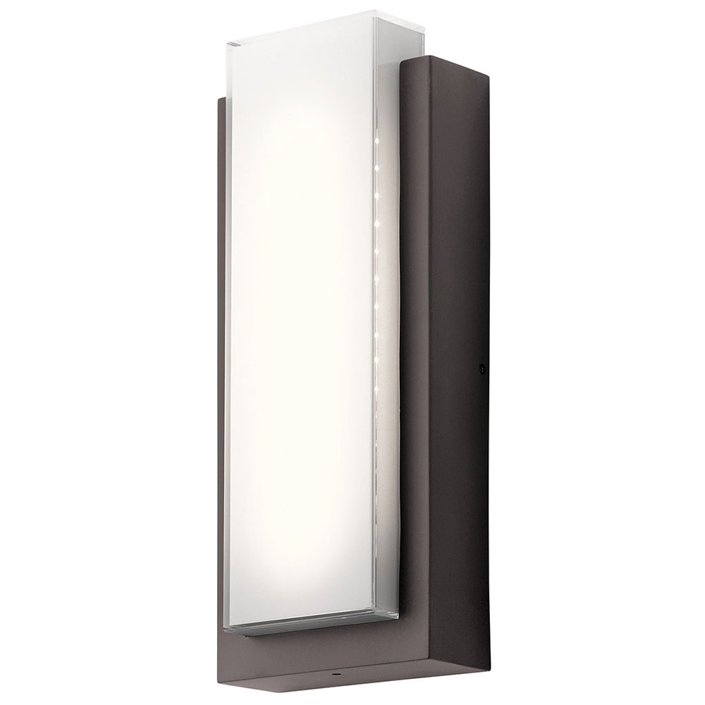 Modern And Contemporary Outdoor Lighting Sconces Regarding Popular Kichler 49557Azled Dahlia Modern Architectural Bronze Led Outdoor (View 10 of 20)