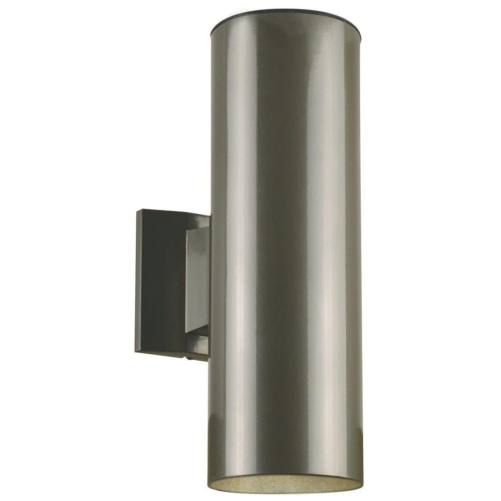 Modern Landscape Lighting At Home Depot Pertaining To Most Current Westinghouse 2 Light Polished Graphite On Steel Cylinder Outdoor (View 14 of 20)