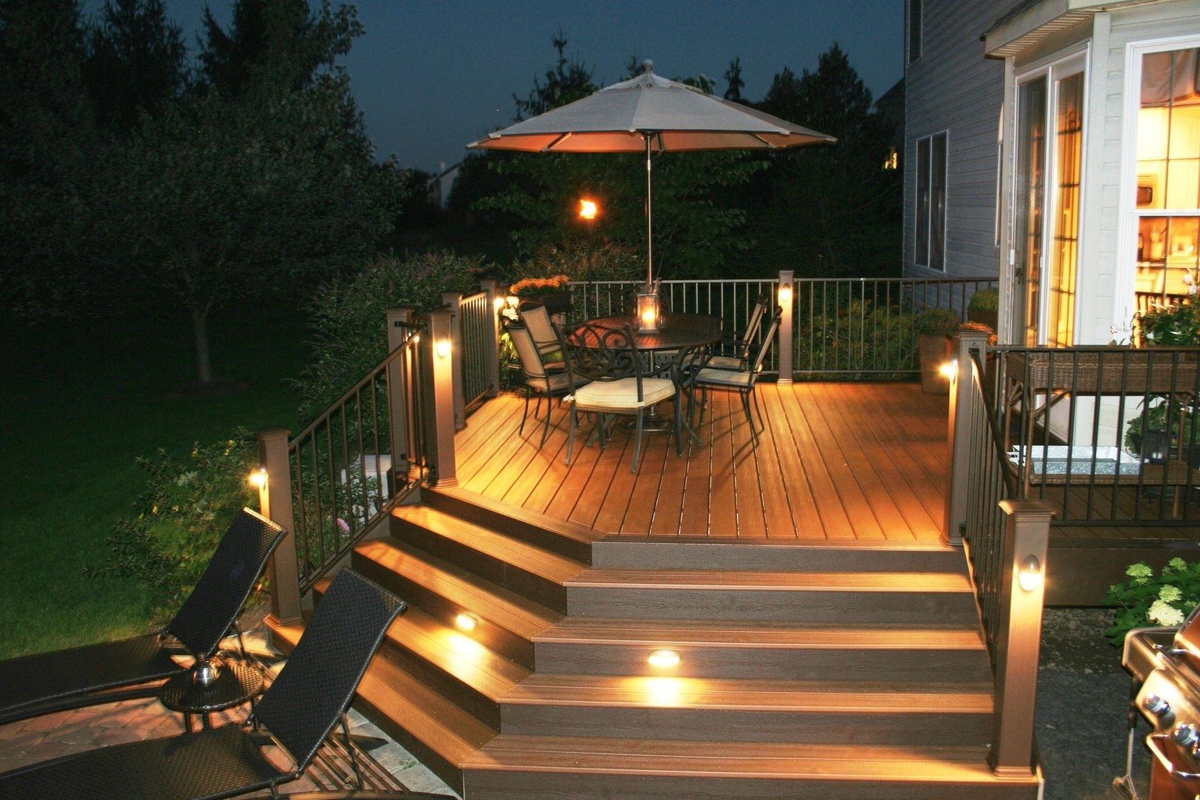 Modern Low Voltage Deck Lighting Pertaining To Recent Awesome Trex Deck With Stair Riser And Accent Lights Archadeck Of (View 5 of 20)