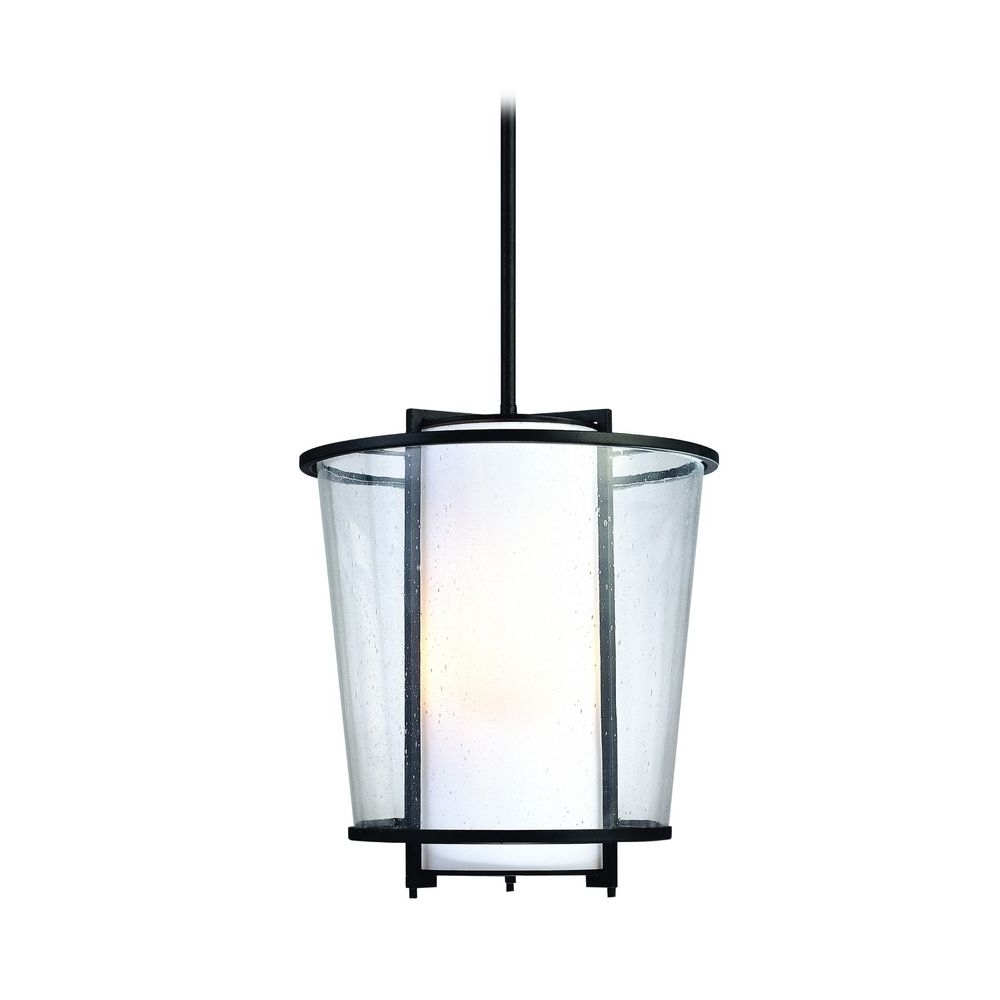 Modern Outdoor Hanging Light With White Glass In Forged Bronze In Famous Outdoor Hanging Entry Lights (View 9 of 20)