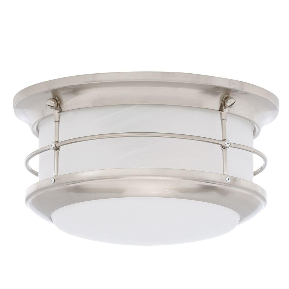 Modern Outdoor Light Fixtures At Home Depot With Regard To Preferred Thomas Lighting Newport Brushed Nickel 2 Light Outdoor Flushmount (View 12 of 20)