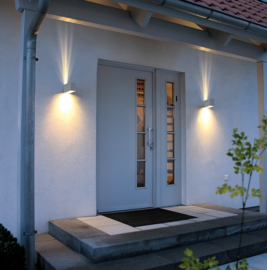 Modern Outdoor Lighting Regarding Well Known Adorable Wall Lamp Side Unusual Door Closed Black Doormat On White (View 10 of 20)