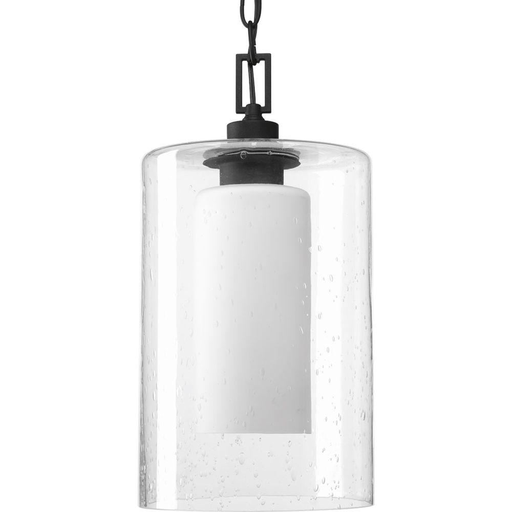 Modern Outdoor Pendant Cylinder Lighting Fixtures Throughout Favorite Progress Lighting Compel Collection 1 Light Black Outdoor Hanging (View 10 of 20)