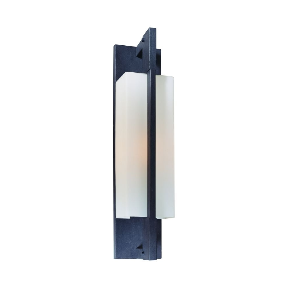 Modern Outdoor Wall Light With White Glass In Forged Iron Finish Within Best And Newest Contemporary Outdoor Wall Lighting (View 11 of 20)