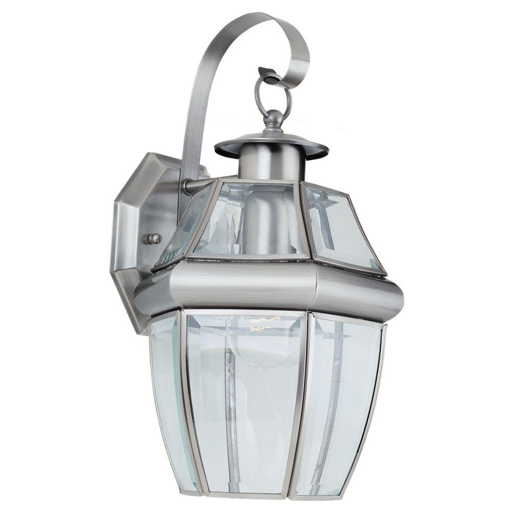 Most Current Brushed Nickel Outdoor Wall Lighting With Regard To Sea Gull Lighting Lancaster 1 Light Antique Brushed Nickel Outdoor (View 14 of 20)