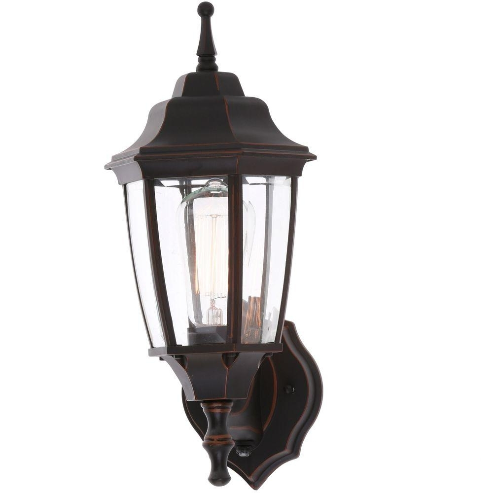 Most Current Hampton Bay 1 Light Oil Rubbed Bronze Outdoor Dusk To Dawn Wall In Outdoor Wall Lighting With Dusk To Dawn (View 11 of 20)