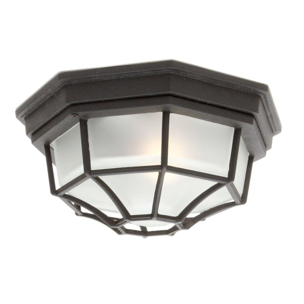 Most Current Hampton Bay Black Outdoor Flushmount Hb7072P 05 – The Home Depot With Outdoor Close To Ceiling Lights (View 9 of 20)