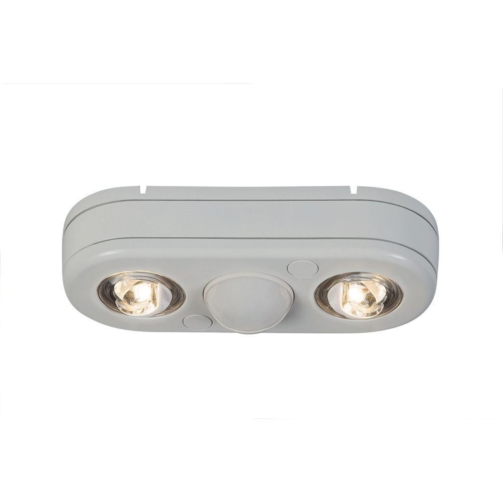 Most Current Lithonia Lighting Wall Mount Outdoor White Led Floodlight With Motion Sensor Inside All Pro Revolve 180 Degree White Twin Head Motion Activated Outdoor (View 14 of 20)