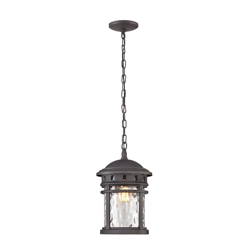 Most Current Metal Outdoor Hanging Lights Pertaining To Home Decorators Collection 1 Light Black Outdoor Pendant C2374 – The (View 19 of 20)