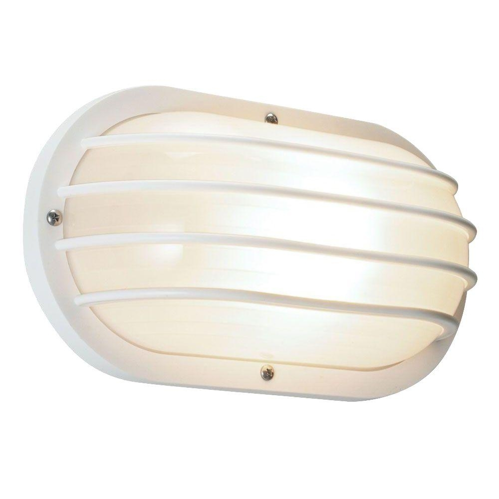 Most Current Newport Coastal White Outdoor Wall Mount Light 7971 01w – The Home Depot Regarding White Outdoor Wall Mounted Lighting (View 15 of 20)