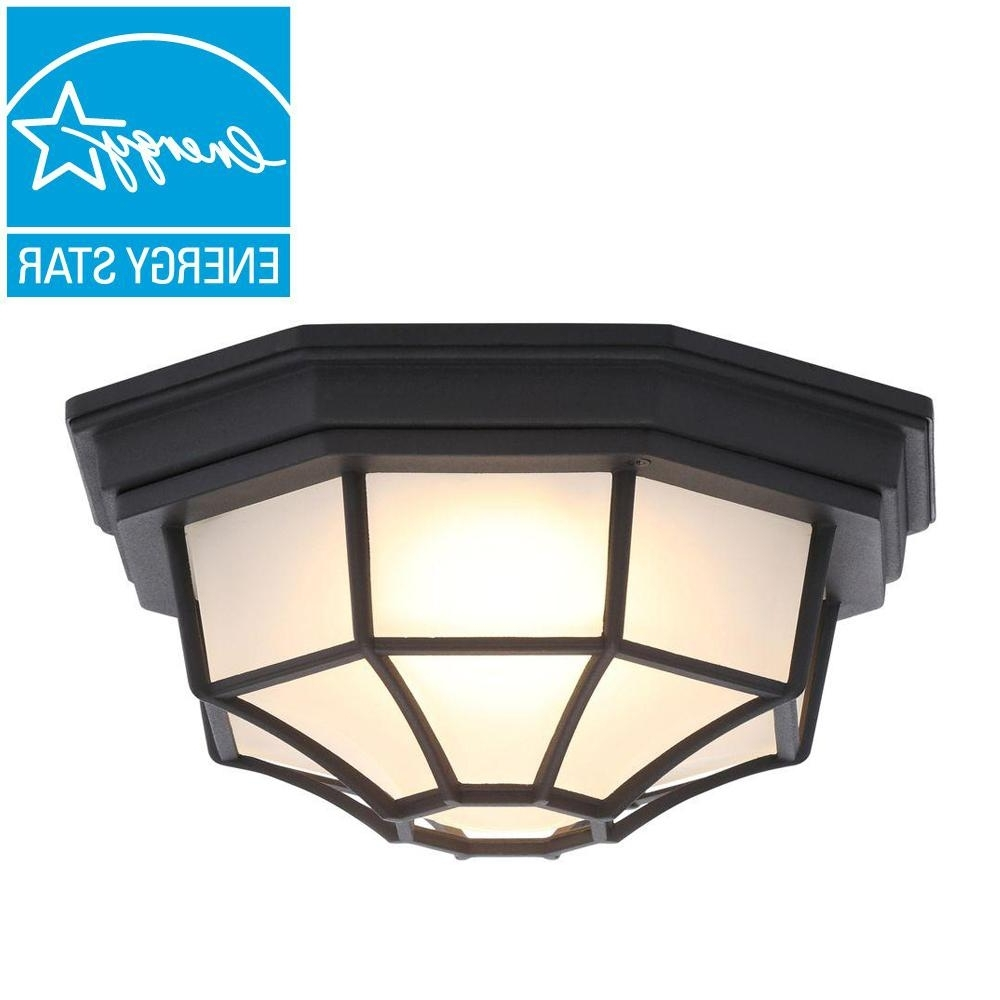 Most Current Outdoor Ceiling Lights With Motion Sensor Throughout Hampton Bay Black Outdoor Led Flushmount Hb7072Led 05 – The Home Depot (View 13 of 20)