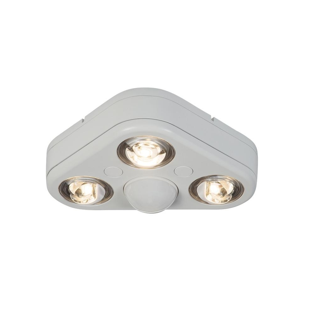 Most Current Outdoor Ceiling Mounted Security Lights Throughout All Pro Revolve 270 Degree White Triple Head Motion Activated (View 2 of 20)