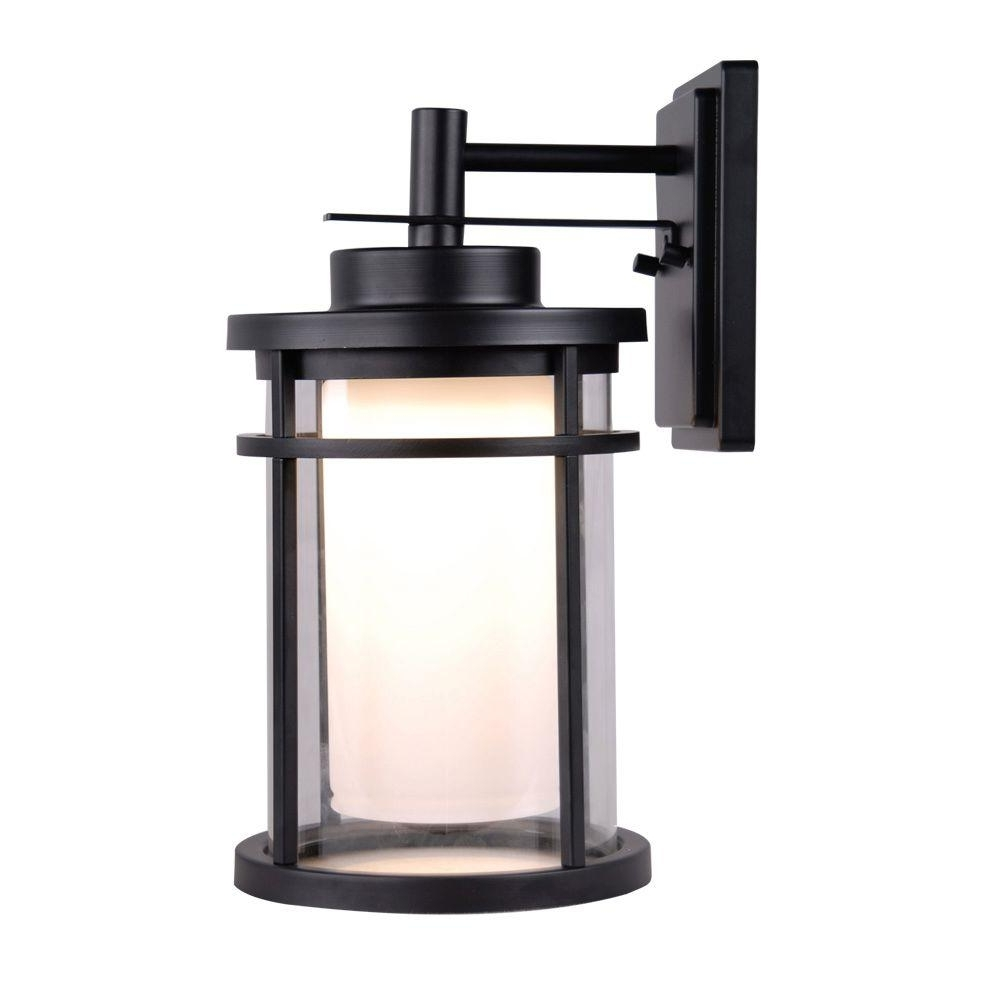 Most Current Outdoor Exterior Wall Lighting In Home Decorators Collection Black Outdoor Led Medium Wall Light (View 6 of 20)