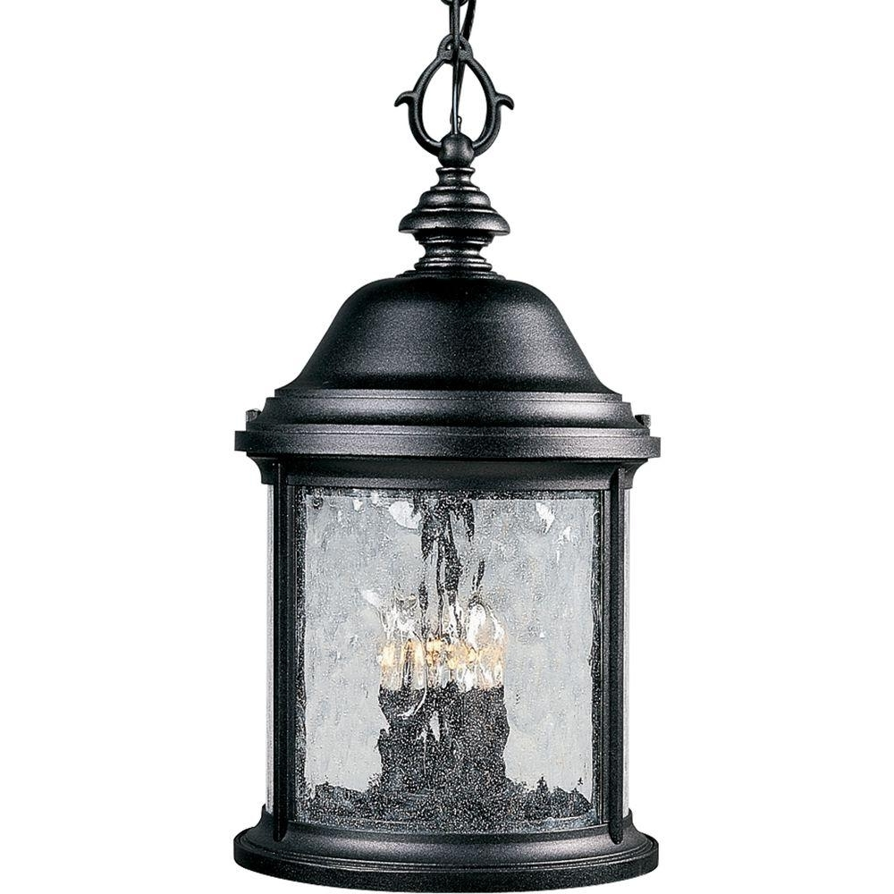 Most Current Outdoor Hanging Light In Black Pertaining To Progress Lighting Ashmore Collection 3 Light Textured Black Outdoor (View 15 of 20)