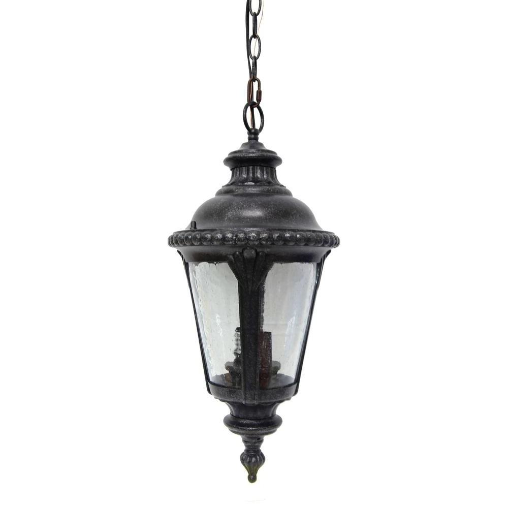 Most Current Outdoor Hanging Wicker Lights For Y Decor Dallin 2 Light Brown Stone Outdoor Hanging Lantern (View 17 of 20)