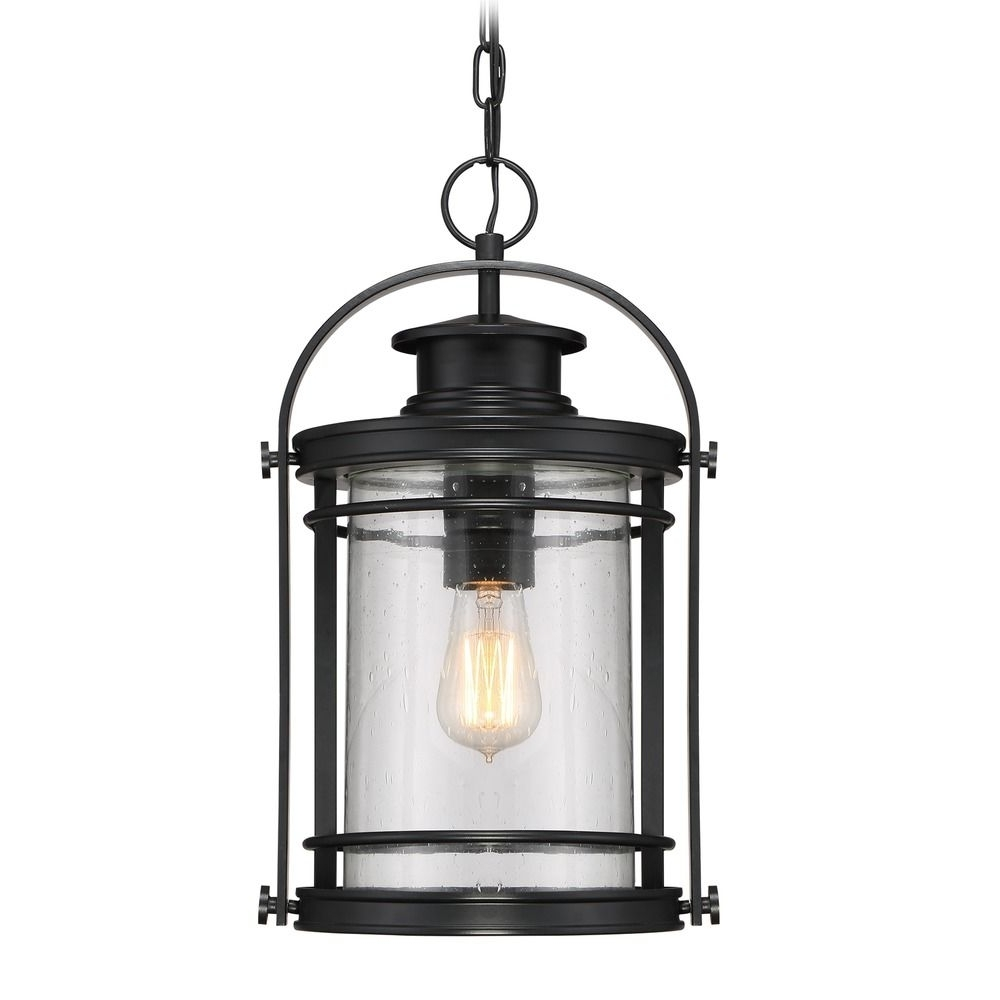 Most Current Outdoor Iron Hanging Lights With Regard To Seeded Glass Outdoor Hanging Light Black Quoizel Lighting (View 17 of 20)
