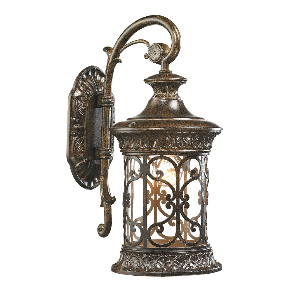 Most Current Outdoor Wall Lighting In Elk 45080 1 Orlean Traditional Hazelnut Bronze Outdoor Wall Lighting (View 7 of 20)