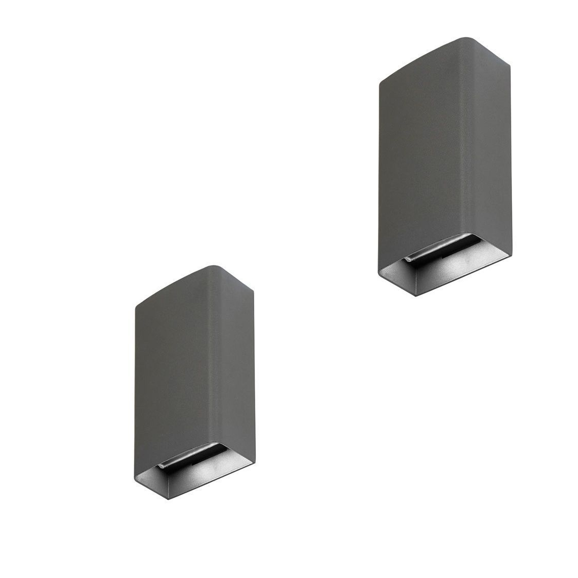 Most Current Pair Saxby El 40073 Odin Twin Tall Matt Grey Led Up Down Outdoor With Regard To Grey Outdoor Wall Lights (View 10 of 20)