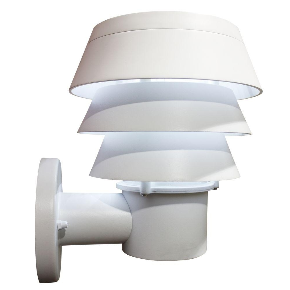 Most Current White Led Outdoor Wall Lights Regarding Gama Sonic Triple Tier 9 Light White Outdoor Integrated Led Solar (View 19 of 20)