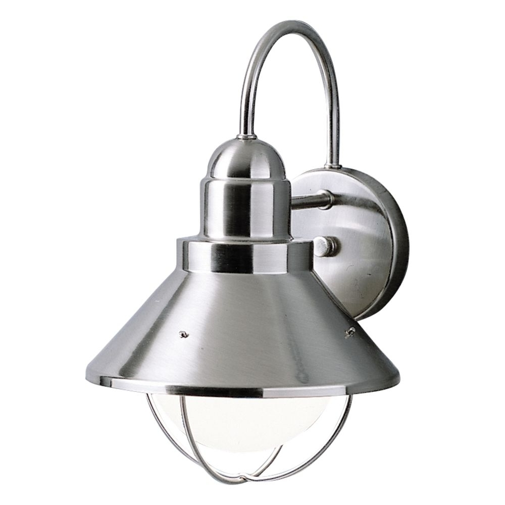 Most Popular Brushed Nickel Outdoor Ceiling Lights Within Kichler Outdoor Wall Light In Brushed Nickel Finish (View 12 of 20)