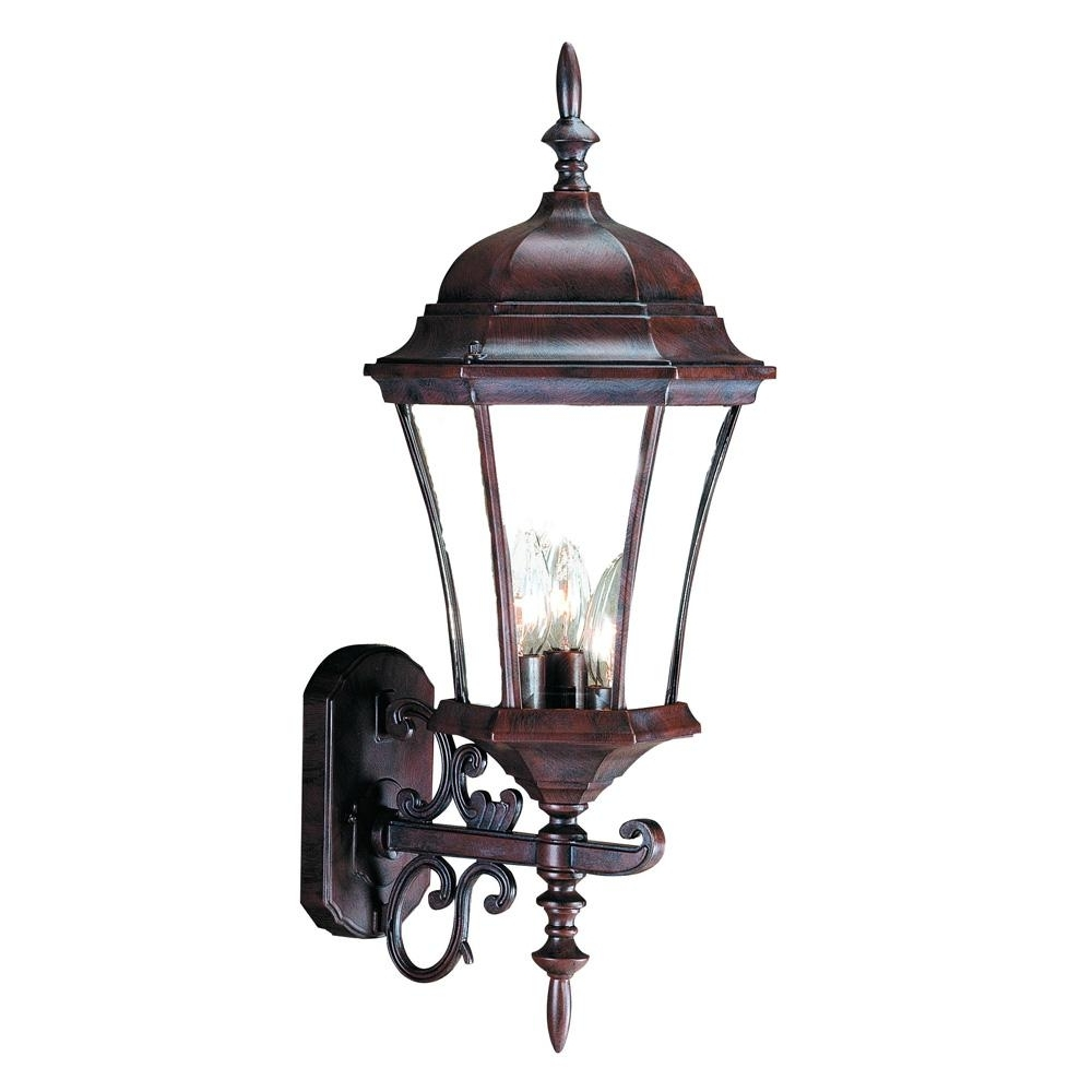 Most Popular Bryn Mawr Collection Wall Mount 3 Light Outdoor Burled Walnut Light Regarding Acclaim Lighting Outdoor Wall Lights (View 11 of 20)