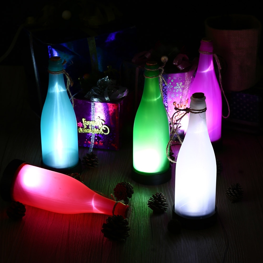 Most Popular Hot 5Pcs Plastic Led Solar Wine Bottle Lights Garden Hanging Lamp Throughout Outdoor Hanging Bottle Lights (View 6 of 20)