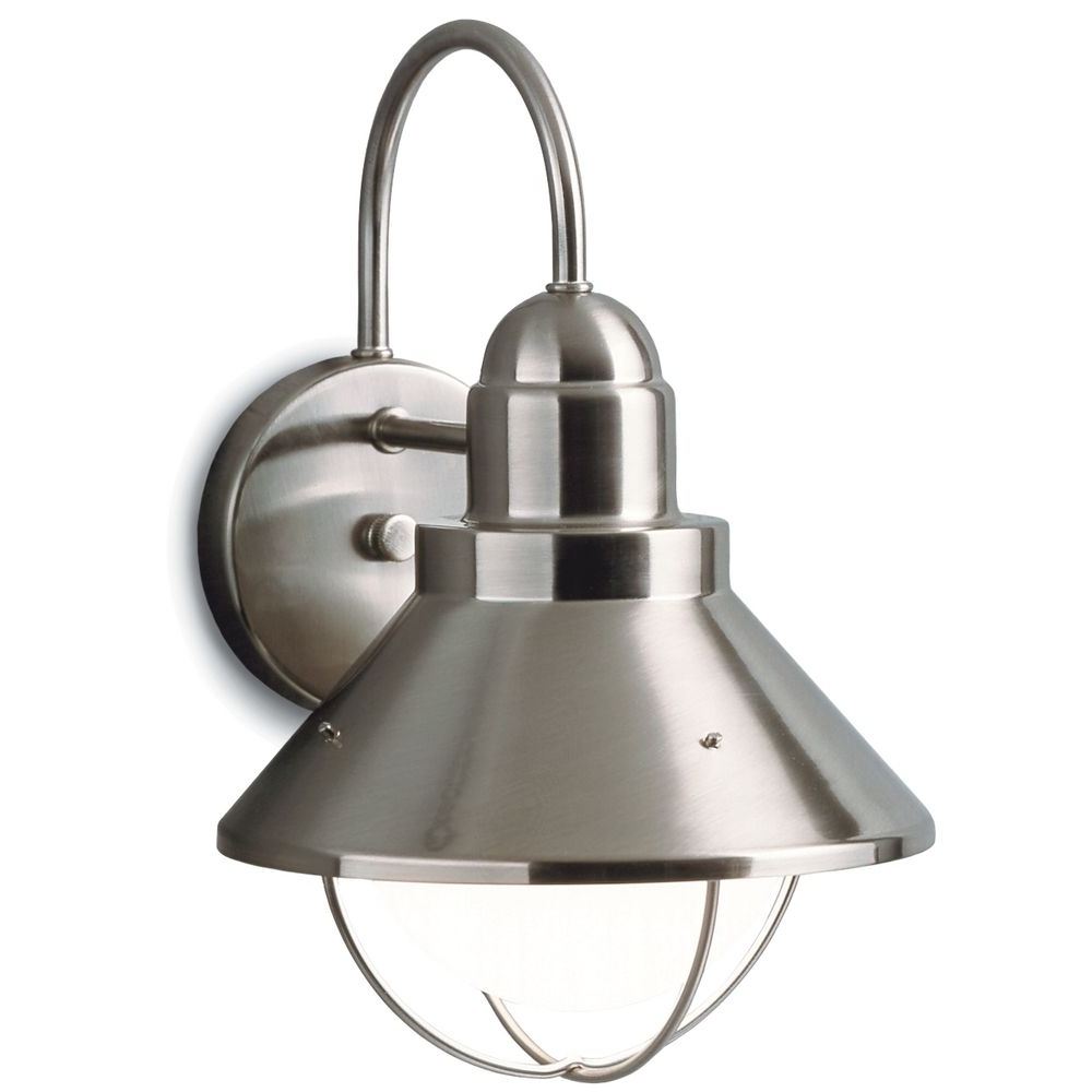 Most Popular Kichler Outdoor Lighting Wall Sconces Throughout Kichler Outdoor Nautical Wall Light In Brushed Nickel Finish (View 11 of 20)