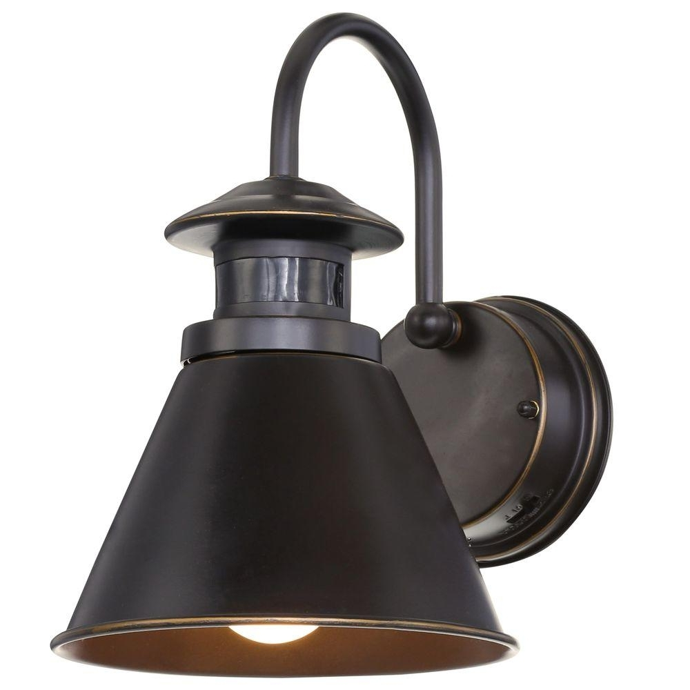 Most Popular Led Outdoor Wall Lighting At Home Depot Intended For Hampton Bay 180 Degree Oil Rubbed Bronze Motion Sensing Outdoor Wall (View 20 of 20)