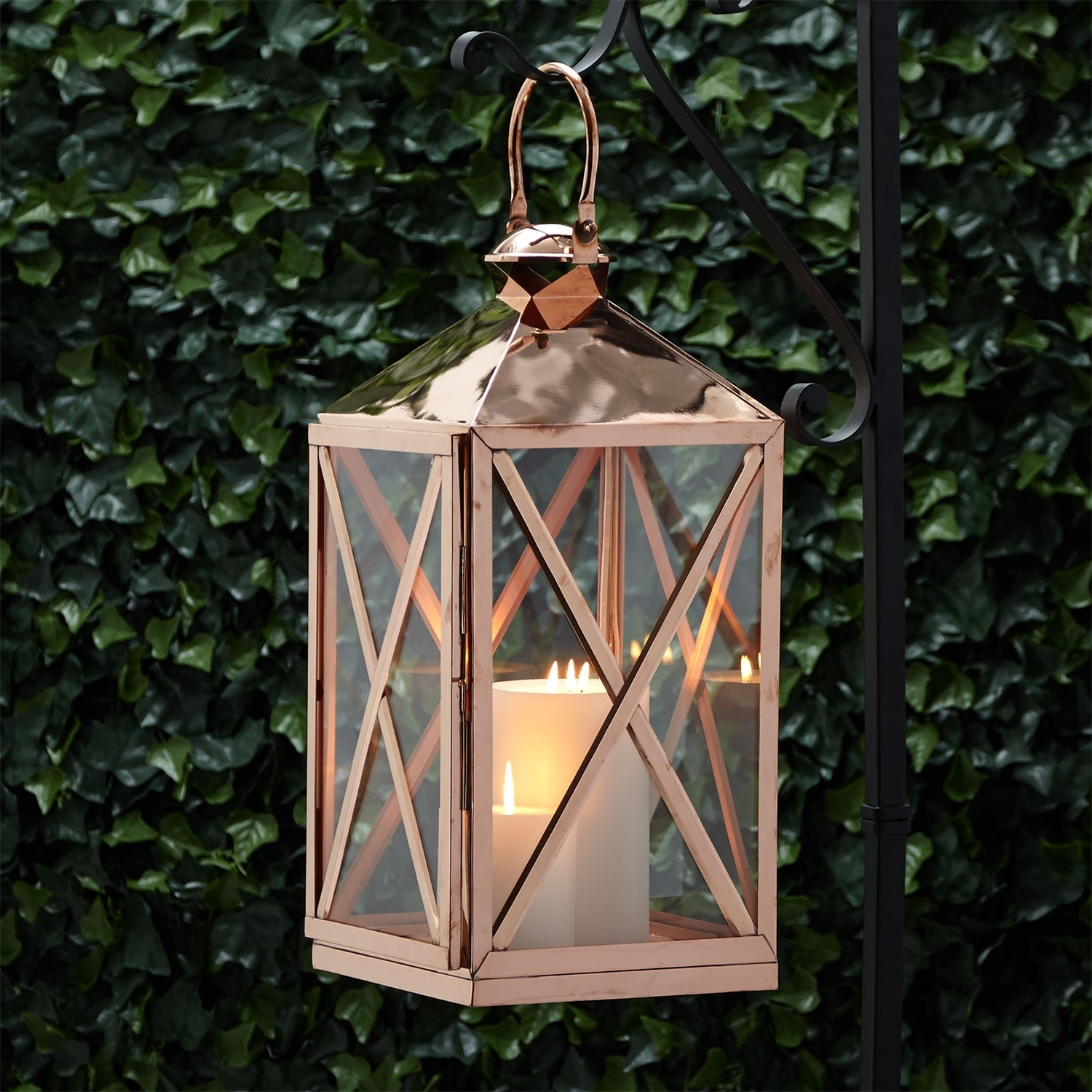 Most Popular Outdoor Hanging Candle Lanterns Intended For Carriageway Copper Candle Lantern – Outdoor (View 13 of 20)