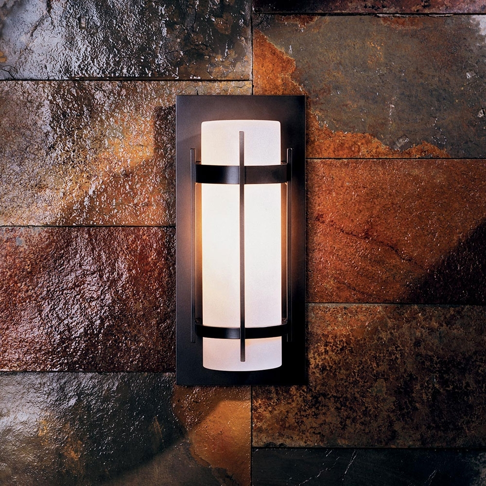 Most Popular Outdoor Wall Sconce Lighting Fixtures Intended For Hubbardton Forge 305892 Banded Led Outdoor Wall Sconce Lighting (View 10 of 20)