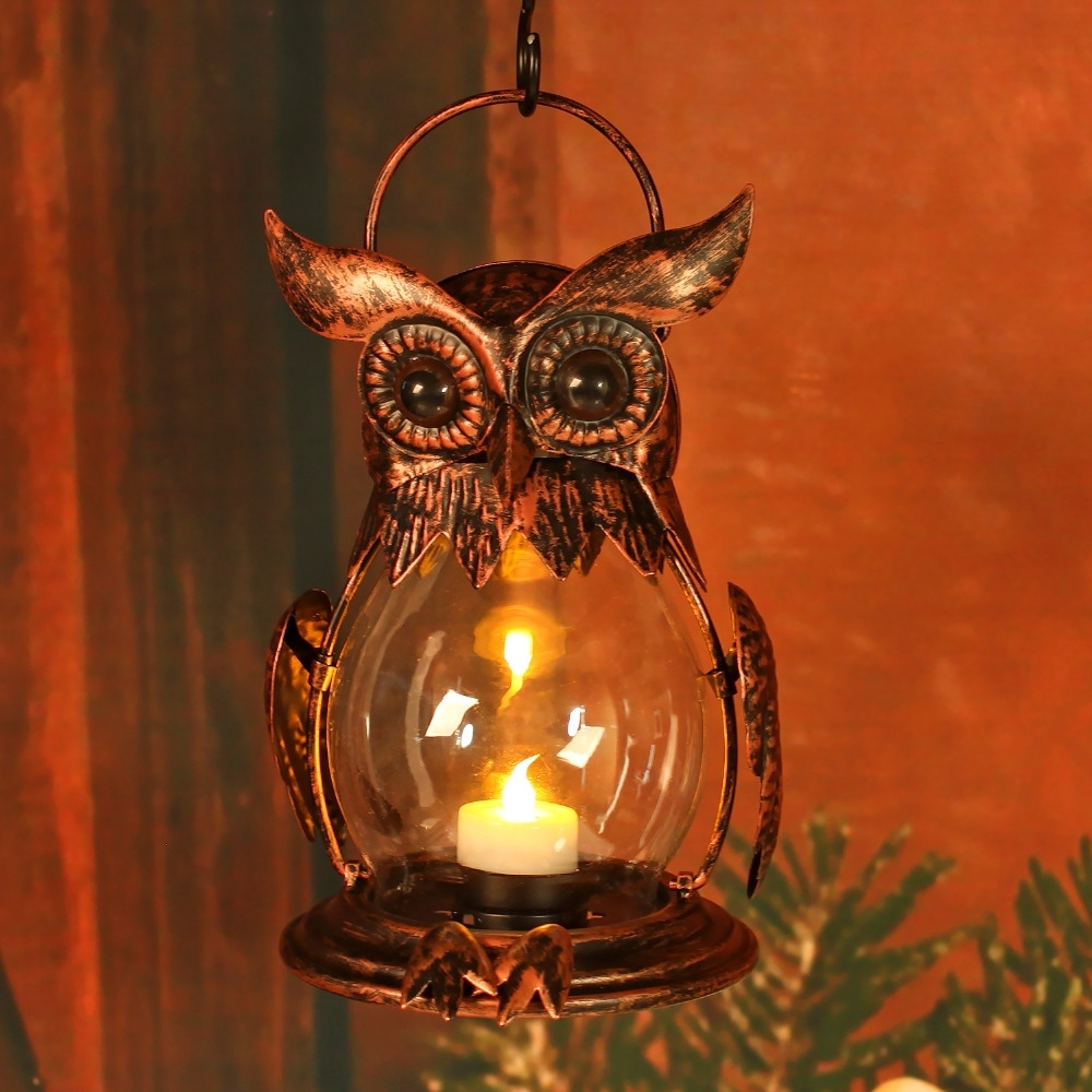 Most Popular Owl Tealight Holder Hurricane Candleholders, Hanging Lantern For Throughout Hanging Outdoor Tea Light Lanterns (View 16 of 20)