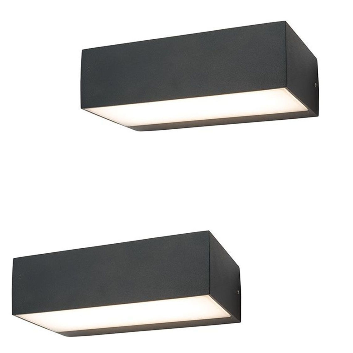Most Popular Pair Saxby 61338 Kempton Matt Black Rectangular Outdoor Led Up Down In Rectangle Outdoor Wall Lights (View 5 of 20)