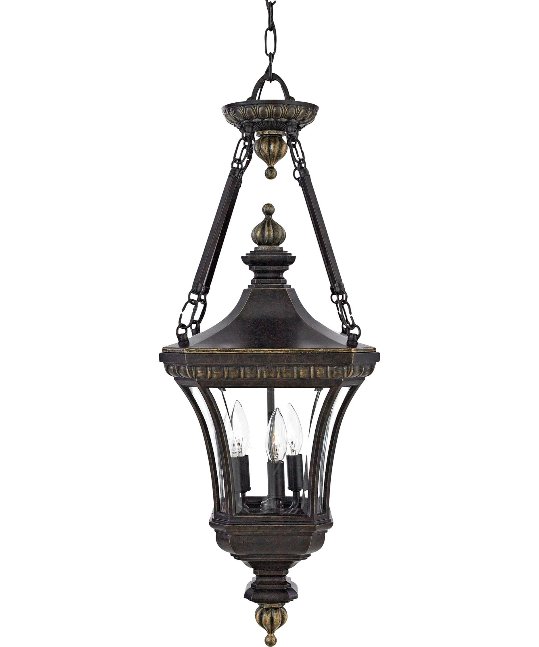 Most Popular Quoizel De1490 Devon 11 Inch Wide 3 Light Outdoor Hanging Lantern For White Outdoor Hanging Lanterns (View 17 of 20)