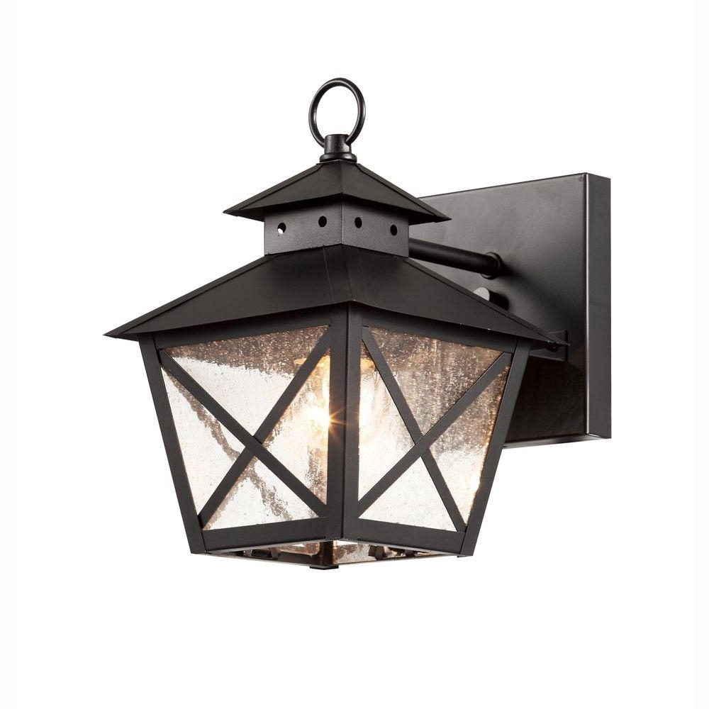 Most Popular Rustic Outdoor Lighting At Home Depot Pertaining To Bel Air Lighting Farmhouse 1 Light Outdoor Black Wall Lantern With (View 8 of 20)