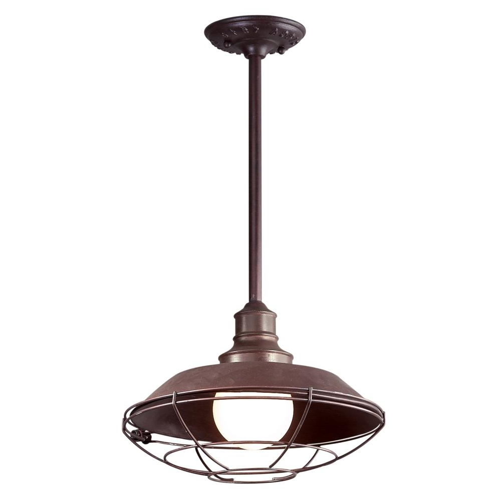 Most Popular Troy Outdoor Hanging Lights Regarding Troy Lighting Circa 1910 1 Light Old Rust Outdoor Pendant F9273Or (View 6 of 20)