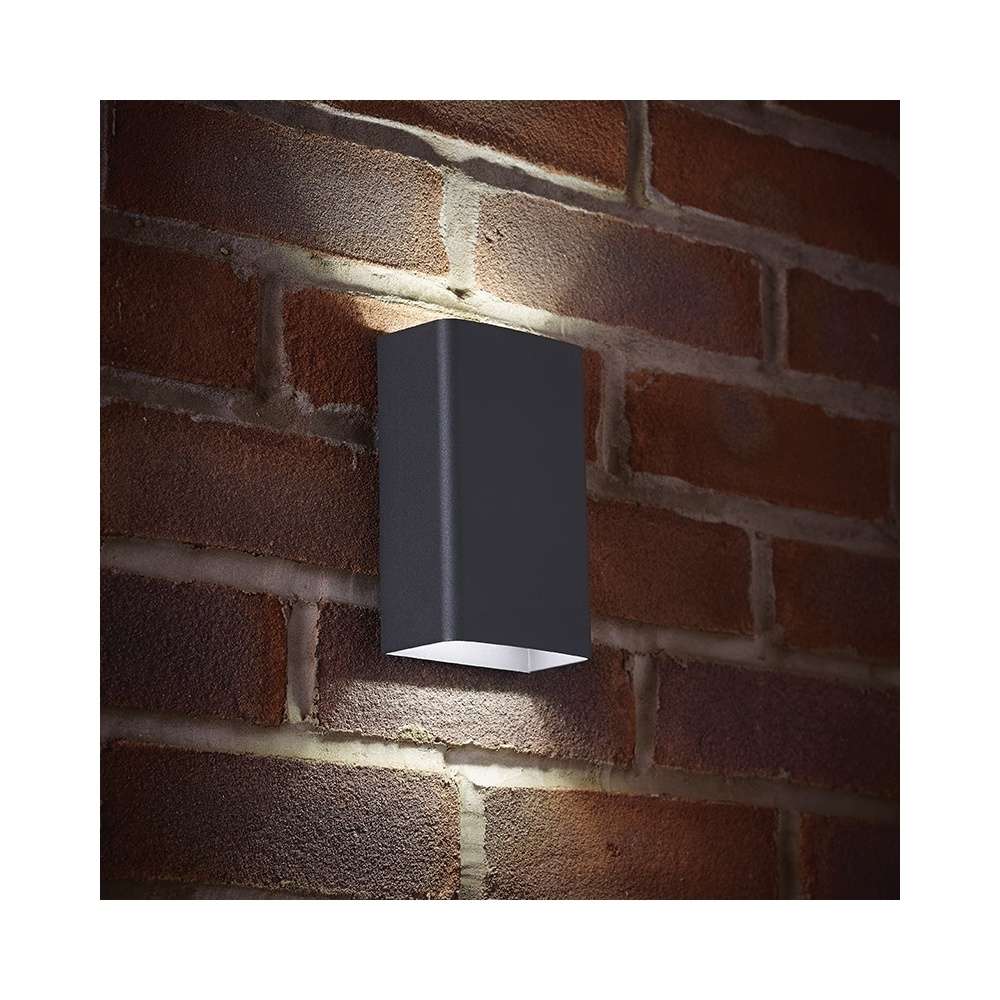 Most Popular Up And Down Outdoor Wall Lighting Inside Endon El 40073 Led Outdoor Matt Grey Up/down Double Wall Light (View 10 of 20)